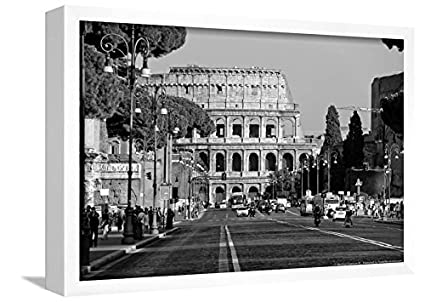 Colosseum in rome italy poster framed lamina white