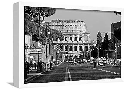 Colosseum in rome italy poster framed lamina white