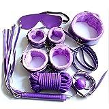 SEXYLAN 7pcs/Set y Lingerie PU Leather Bon-d-À-gé Set Toy Bon-d-À-gé Ré-s-t-rÂínt Handcuffs Toy Exotic Accessoriespurple