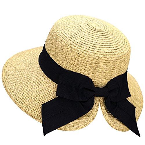 (Verabella Summer Hat Womens Foldable/Packable Straw Bonnet Sun Roll up Hat, Beige Sun Hat)