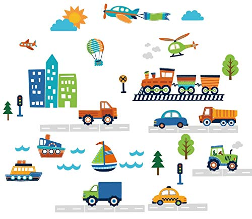 CherryCreek Decals Transportation and City Scene Kids' Room Peel and Stick Wall Sticker Decals (Reusable Car Wall Decal)