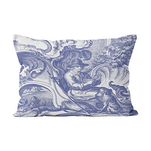 - Gygarden Beauty Elegant Blue French Baroque Toile Hidden Zipper Home Decorative Rectangle Throw Pillow Cover Cushion Case Boudoir 12x20 Inch One Side Design Printed Pillowcase