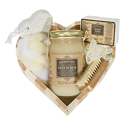 Valentine's Heart Shaped Gift Set with Holy City Skin Products Dead Sea Salt Hand & Body Scrub & Soap Bar