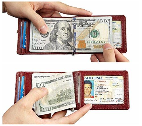 NapaWalli RFID Blocking Bifold Slim Genuine Leather Thin Minimalist Front Pocket Wallets for Men Money Clip Made From Full Grain Leather (Mahogany)