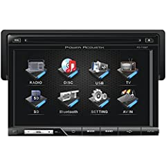 """This is a Power Acoustic PD-710B 7"""" TFT touch screen single DIN car player. The Power Acoustik PD-710B features detachable motorized faceplate with angle adjustment, it plays CD's, DVD's, MP3's, has built in Bluetooth, multi region FM frequen..."""