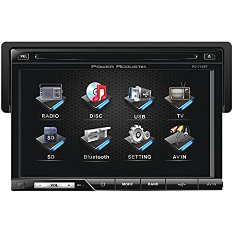 Power Acoustik PD-710B Single-DIN Multimedia Source with Detachable 7-Inch Oversize LCD Touchscreen including Bluetooth - City Navigator Dvd