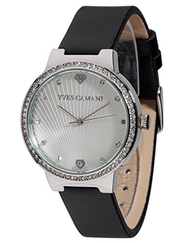 Yves Camani Toulon Women's Wrist Watch Quartz Analog Silver Dial Stainless Steel Casing Black Leather Strap