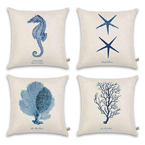 ONWAY Ocean Park Cotton Linen Theme Decorative Pillow Cover Case D 18 X 18 Square Shape-ocean-beach-sea-print-starfish-seahorse-voyage, 4 Pack Blue