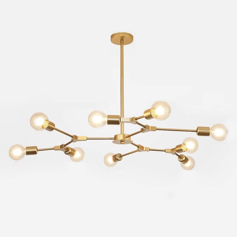 Surpars House Sputnik Chandelier, 9-Lights Ceiling Light Golden