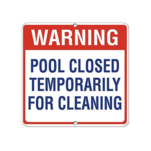 (VictorJoan Warning Pool Closed Temporarily For Cleaning Activity Aluminum Metal Sign Tin Sign 12 in x 12)