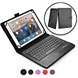 COOPER INFINITE EXECUTIVE Keyboard case for 9'', 10'', 10.1'' inch tablets | 2-in-1 Bluetooth Wireless Keyboard & Leather Folio | Universal, Stand, Vegan Leather, 100HR Battery, 14 Hotkeys (Black)