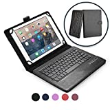 9-10.1'' Inch tablet keyboard case, COOPER INFINITE EXECUTIVE 2-in-1 Wireless Bluetooth Keyboard Magnetic Leather Travel Windows Android Carrying Cases Cover Holder Folio Portfolio + Stand (Black)