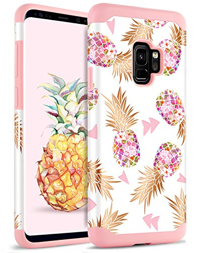 BENTOBEN Galaxy Note 9 Case Pineapple, Note 9 Phone Case, Colorful Star Cute Bronzing Pineapple Hard PC Soft TPU Shockproof Full Body Protective Phone Case for Samsung Note 9, Rose Gold/Pink