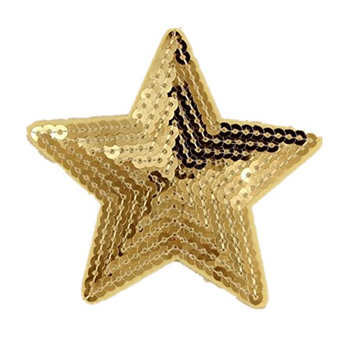 Ximkee Pack of 10 Shiny 5 Star Sequins Sew Iron on Applique Embroidered Patches-Gold (Applique Star)