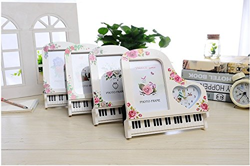 High-grade Creative Elegant Simplicity European Style Photo Frame Piano Modelling Vertical Heart-shaped Small Alarm Clock(pattern Is ()