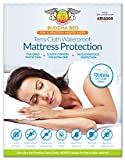 Queen Mattress Encasement. 100% Waterpoof designed to block sweat, stains, urine, and accidents. Bleachable, Easy to Wash. Installs like a fitted sheet and fits up to 20 Inches Deep.