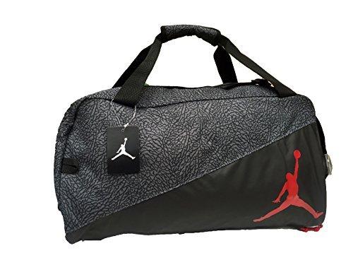 Nike Jumpman Jordan Duffel Bag (Black and Gray with Red Logo)