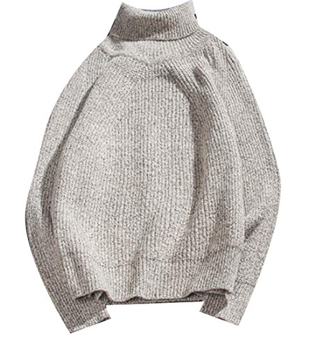 today-UK Men's Casual Solid Color High Neck Pullover Sweater 1