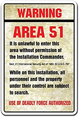Decoración del hogar signo señal de advertencia área 51 regalo nave espacial Aliens El Espacio Ultraterrestre luna nave espacial Metal Sign para al ...