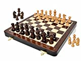 House of Chess - 12 Inches Wooden Magnetic Folding Travel Chess Set/Board - 2 Extra Knights, 2 Extra Pawns, 2 Extra Queens & Algebraic Notation - Handmade - Premium Quality