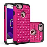 Image of iPhone 7 Case, Asstar Hybrid Defender Dual Layer Protection Slim Trendy Hard Studded Rhinestone Crystal Bling Scratch Protection Hybrid Armor Case for Apple iPhone 7(2016) (rose black)