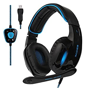 SADES SA902 New Update Gaming Headset 7.1 Channel Virtual USB Surround Stereo Wired PC Gaming Headset Over Ear Gaming Headphones with Mic Revolution Volume Control LED Light For PC MAC(BlackBlue)