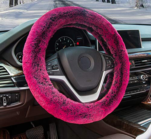 Super Accessories Auto Car Steering Wheel Cover 15 inch Fuzzy Steering Wheel Cover with Winter Warm Faux Wool for SUV Car Truck (red)