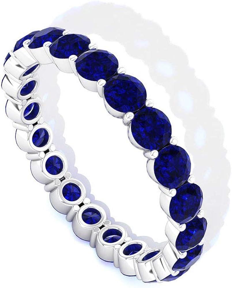Anillo redondo de eternidad de zafiro azul, minimalista de septiembre de piedra preciosa, anillo de aniversario de boda, anillo de la madre apilable, anillo de promesa para mujeres