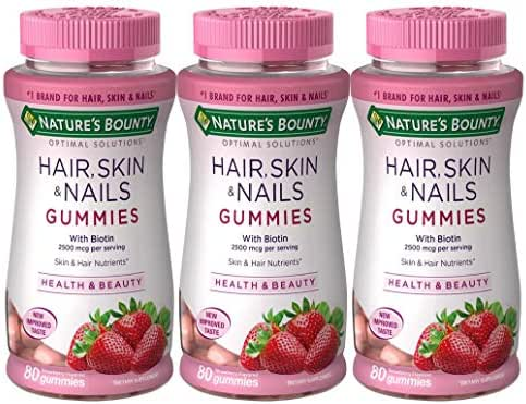 Nature's Bounty Optimal Solutions Hair, Skin, Nails, 80 Gummies (Pack of 3) (packaging may vary)
