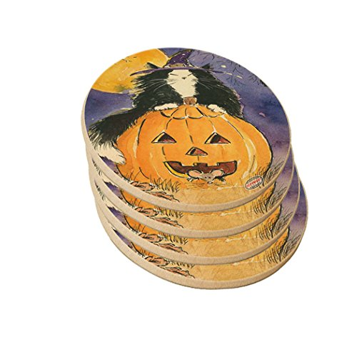 Natural Sandstone Drink Coaster Set - Witchy Maine Coon Kitty with Jack O'Lantern and Mice Halloween Cat Art by Denise Every