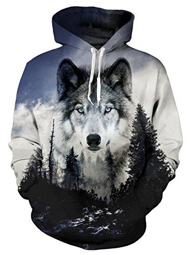 Loveternal Unisex Vintage Forest Wolf Hoodies Fashion Hip Hop Street Dance Hooded Pullover Sweatshirt for Women Men -