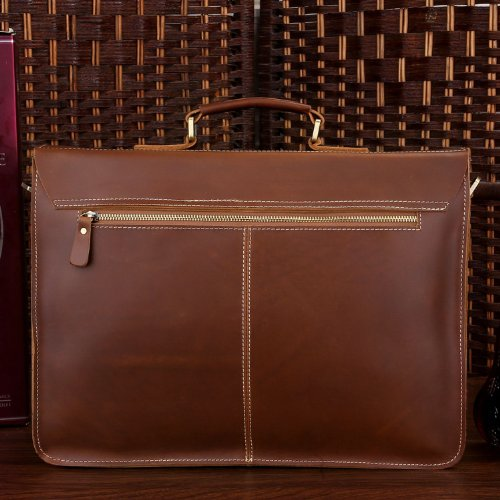 BAIGIO Office 15.6'' Laptop Briefcase Men Leather Business Shoulder Messenger Bag (Red Brown) by BAIGIO (Image #2)