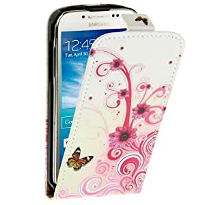 Butterfly and Daisy Pattern Vertical Leather Case for Samsung Galaxy S4 mini / i9190