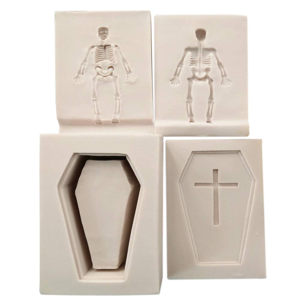 Fenteer 4pcs Halloween Coffin Skeleton Cross Mold Chocolate Sugar Soap Clay Craft Baking Tools DIY Cake Silicone Mold