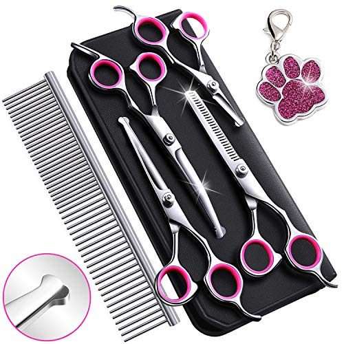 6CR Stainless Steel Dog Grooming Scissors Kit with Safety Round Tip, Heavy Duty Titanium Pet Grooming Trimmer Kit – Thinning, Straight, Curved Shears and Comb for Long Short Hair for Cat Pet