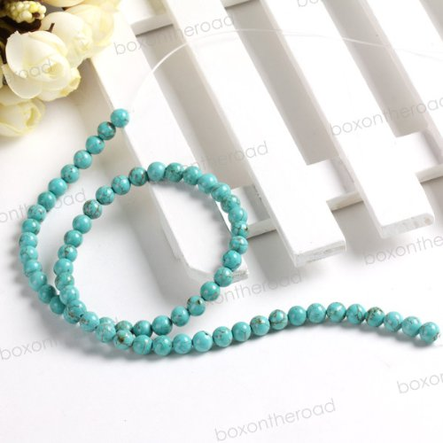 6mm NECKLACE ROUND LOOSE TURQUOISE BEADS [approx 16