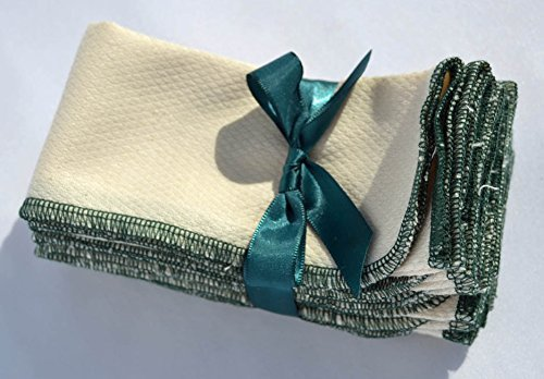1 Ply Organic Cotton Paperless Towels 11x12 Inches Set of 10 Edged in Evergreen Poly Thread ()