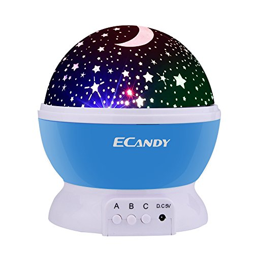 Ecandy Constellation Night Light Projector Lamp 360 Degree Rotating 3 Mode Romantic Cosmos Star Sky Moon Bedroom Light for Children,Baby Bedroom,Christmas Gifts,Blue