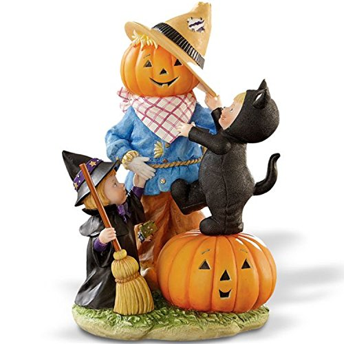 Lenox Halloween Pumpkin Head Scarecrow Figurine Black Cat Witch Decoration ()
