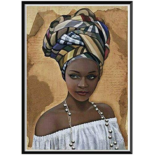 EdC 5D Diamond Painting, Black Woman Belief DIY Crystal Rhinestone Embroidery Paintings Pictures Arts Craft Stitch for Home Wall Decor Full Drill for Adults and Beginner Kits (B)