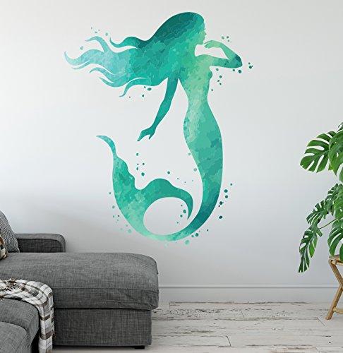 West Mountain Mermaid Wall Decal - Ocean Mermaid Wall Art Aqua Watercolors - Bathroom Wall Decal - Beach House Vinyl Wall Sticker LB18 (24''H x 18''W)