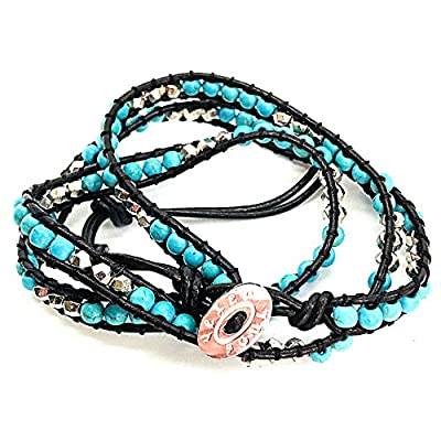 Hot Vexed Soul Handmade Wrap Bracelet with Supple Brown Leather and Turquoise and Plated Silver Beads for sale