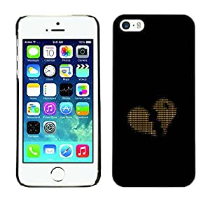 CASER CASES / Apple Iphone 5 / 5S / Ascii Code Heart Love Binary / Delgado Negro Plástico caso cubierta Shell Armor Funda Case Cover