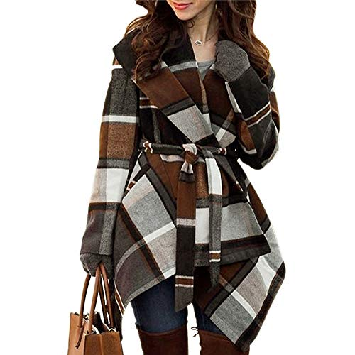 (Chicwish Women's Turn Down Shawl Collar Open Front Long Sleeve Check Asymmetric Hemline Wool Blend Coat, Brown, Medium)