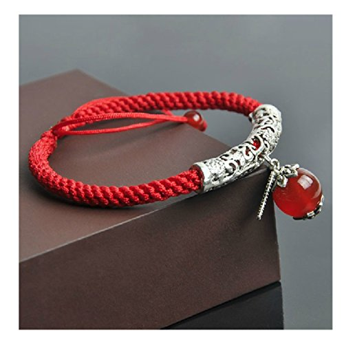 Beautiful Feng Shui Handmade Red String with Agate Bead Bracelet (with a Betterdecor Pounch)