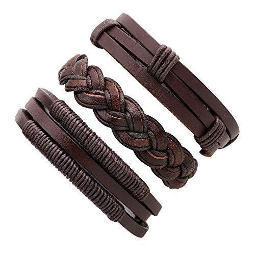 KAIISH Bracelet Punk Handmade Bracelets for Women Men Beads Wristband Cuff Leather Bracelet Ethnic Vintage Jewelry ()