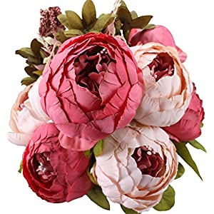 Duovlo Fake Flowers Vintage Artificial Peony Silk Flowers Wedding Home Decoration,Pack of 1 (Dark Pink) 4