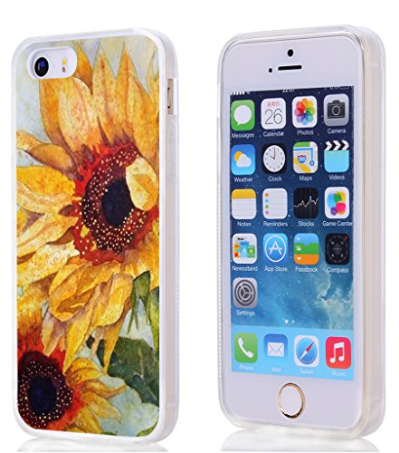 Case for Apple Iphone 5 5S SE Vintage Yellow Sunflowers Hard Unique Designer Slim Pattern Thin Protective Shockproof Drop Proof (Vintage Phone For Iphone compare prices)