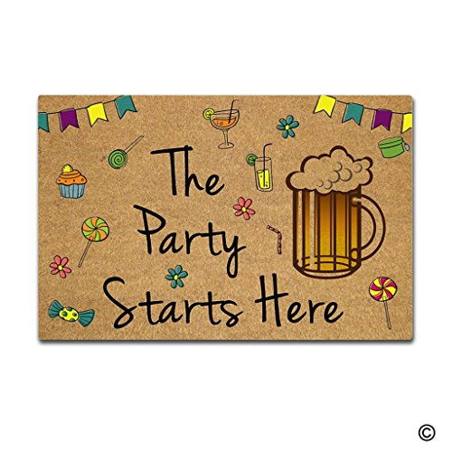 MsMr Doormat Entrance Mat The Party Starts Here Mat Non-slip Doormat 23.6 inch by 15.7 inch Machine Washable Non-woven -
