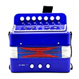 MonkeyJack Kids Accordion Music Toy Early Learning Eduction Instrument Xmas Gift Blue